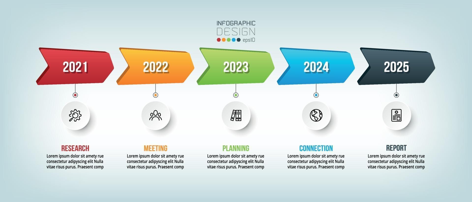 progettazione del modello di infografica timeline aziendale annuale. vettore