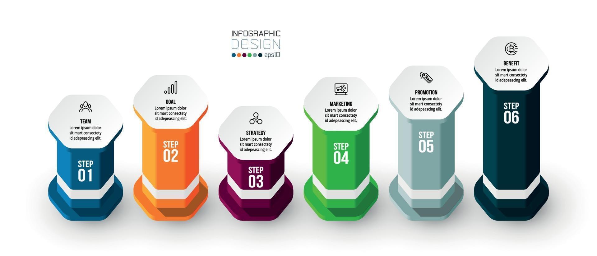 modello di business infografica con passaggio o opzione. vettore