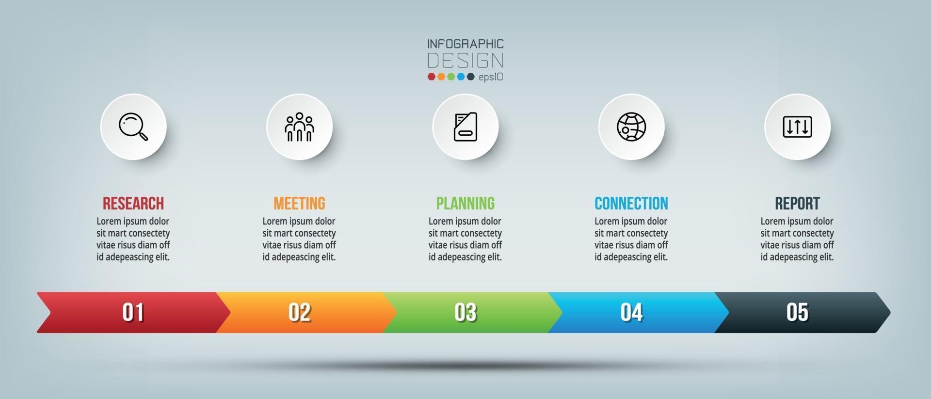 grafico infografico della cronologia aziendale con passaggio o opzione. vettore