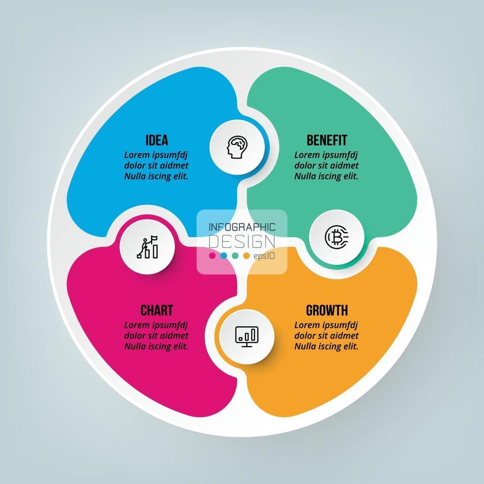 progettazione del modello di business puzzle infografica. vettore