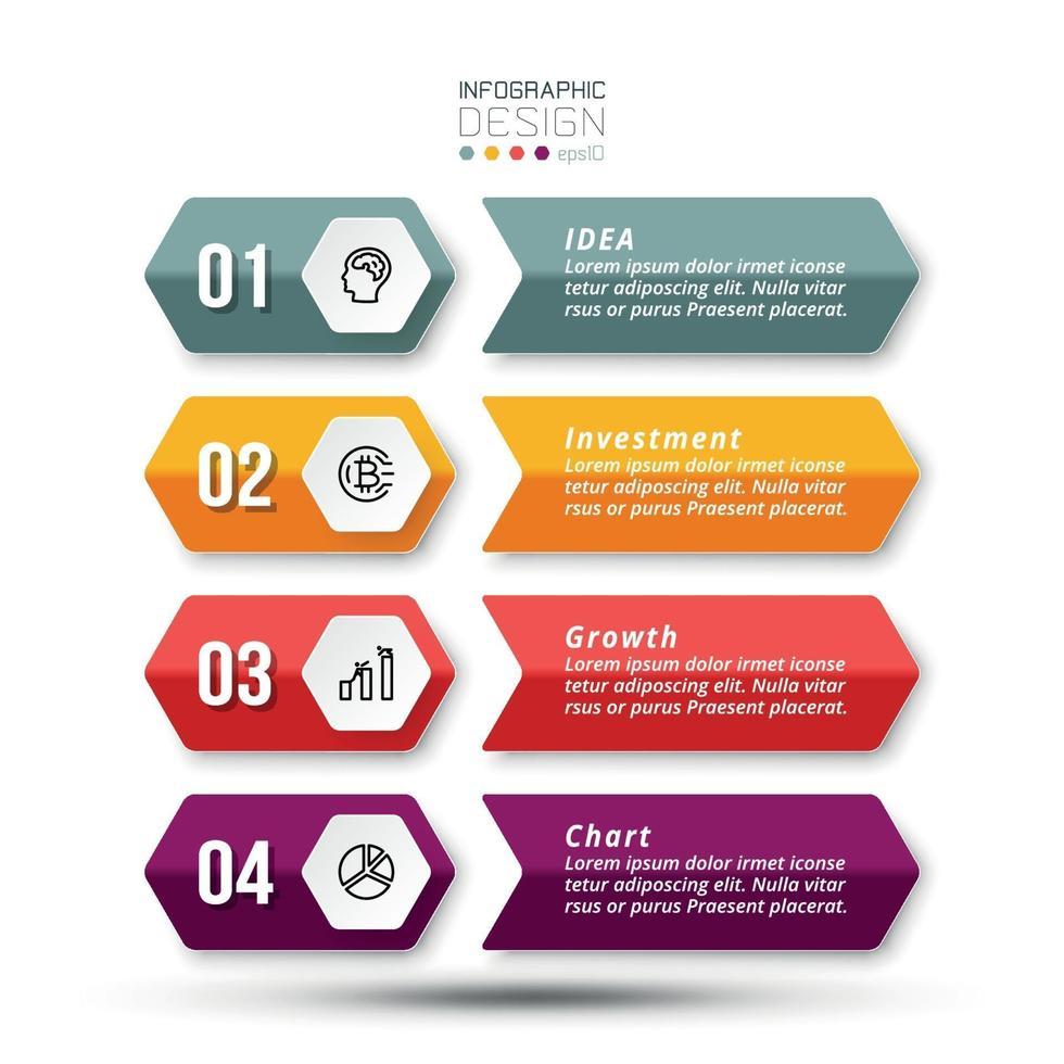 Modello di infografica aziendale di flusso di lavoro in 4 fasi. vettore