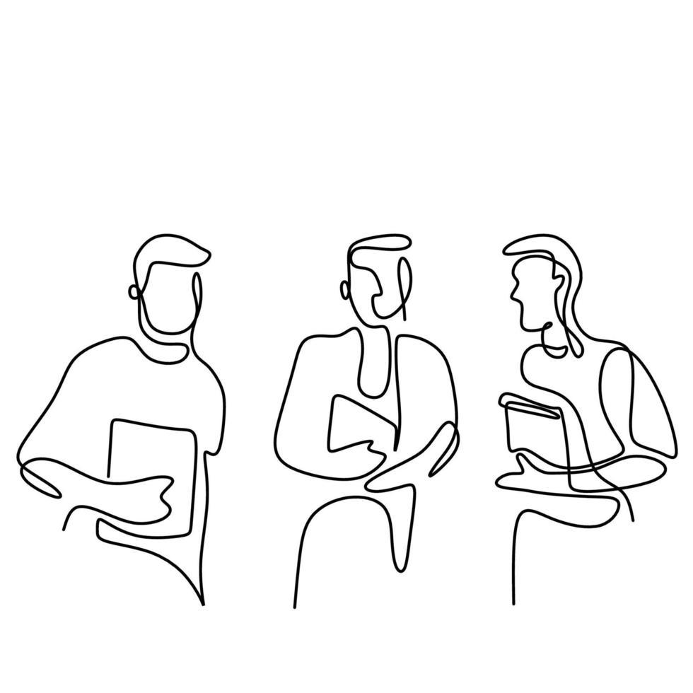 un disegno di linea continua di tre giovani all'università. ragazzi belli felici è in piedi posa mentre si tiene un libro nella zona del campus isolato su sfondo bianco. design minimalista vettore