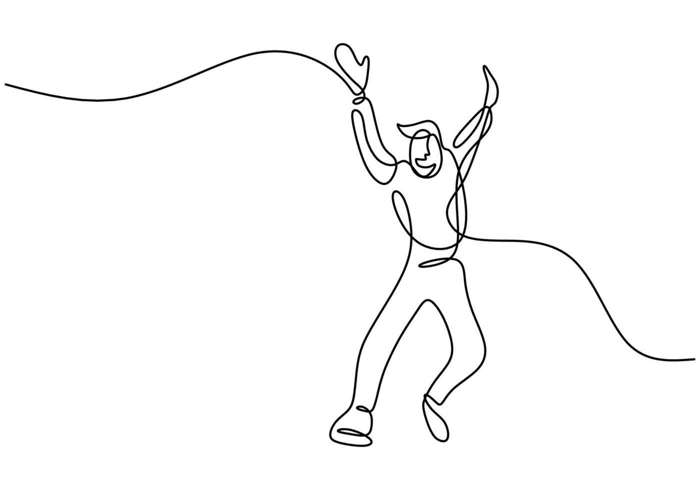 disegno a tratteggio continuo di uomo felice che salta. il giovane salto maschio attraente sembra felice e la libertà isolata su priorità bassa bianca. realizzazione e sogno del concetto di successo. illustrazione di schizzo di vettore