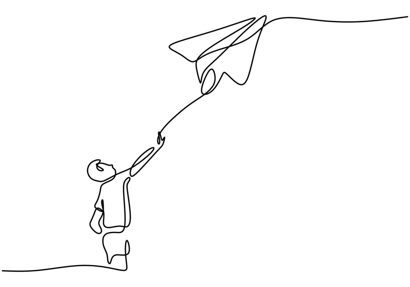 un disegno in linea continua del ragazzo lancia un aereo. ragazzino che gioca aeroplano di carta nel cielo al campo all'aperto isolato su sfondo bianco. concetto minimalista creativo di libertà e passione vettore