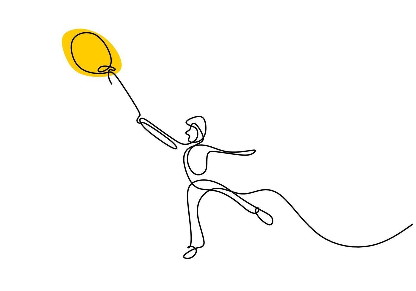 una linea continua che disegna un uomo adolescente che tiene un palloncino. felice giovane ragazzo giocando in mongolfiera all'aperto mentre balla ed esegui contorno disegnare a mano su uno sfondo bianco. espressione di felicità. vettore