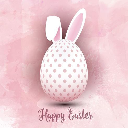 Uovo di Pasqua su sfondo acquerello vettore