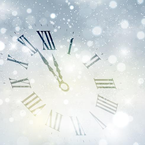 Felice anno nuovo sfondo orologio vettore