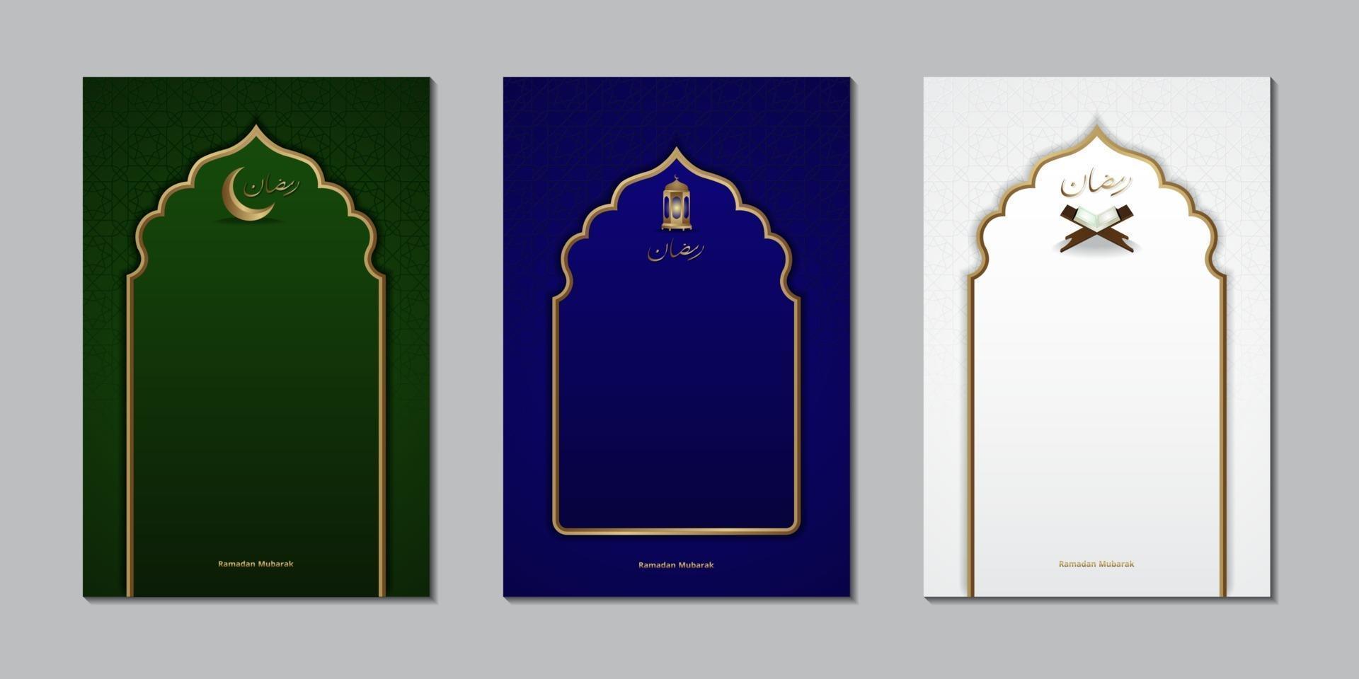 biglietto di auguri per il festival del ramadan con modello di simboli islamici vettore