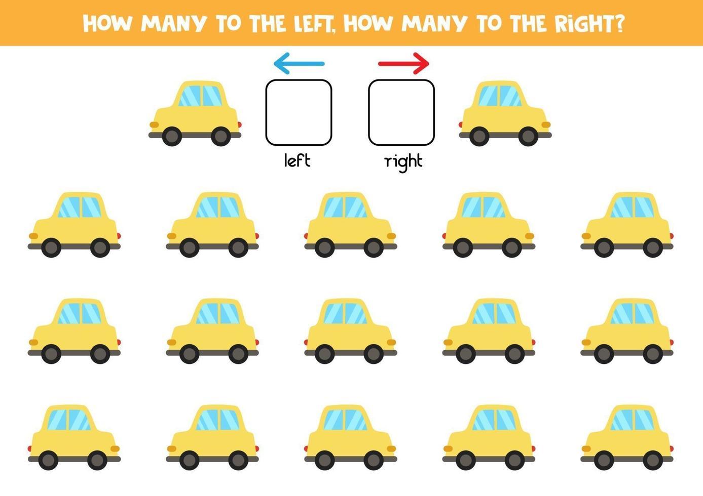 a sinistra oa destra con l'auto. foglio di lavoro logico per bambini in età prescolare. vettore