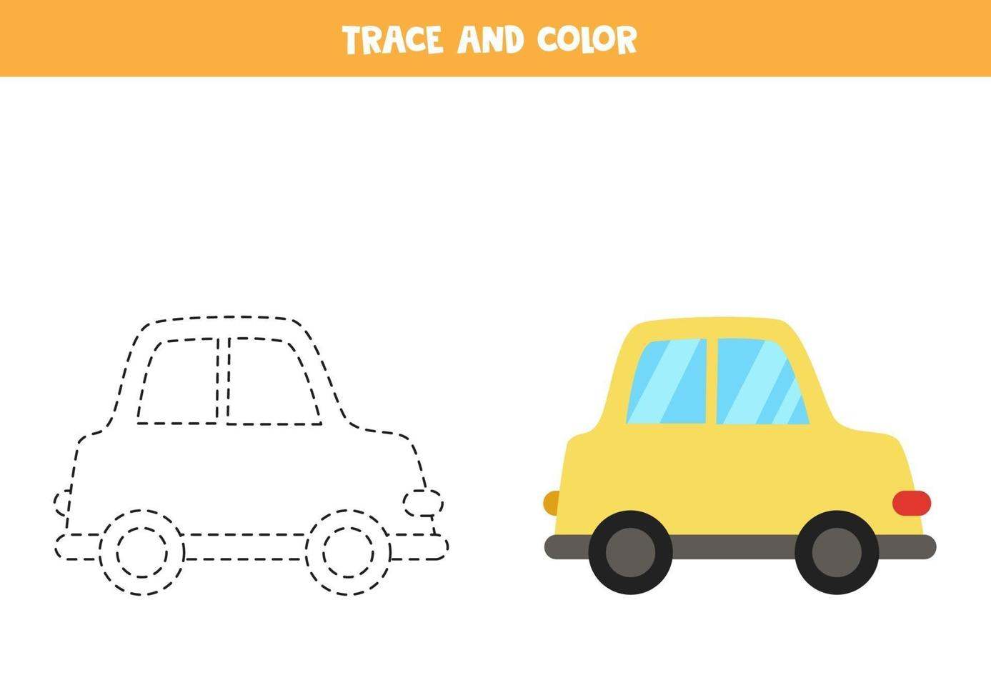 traccia e colora la macchina dei cartoni animati. foglio di lavoro spaziale per bambini. vettore