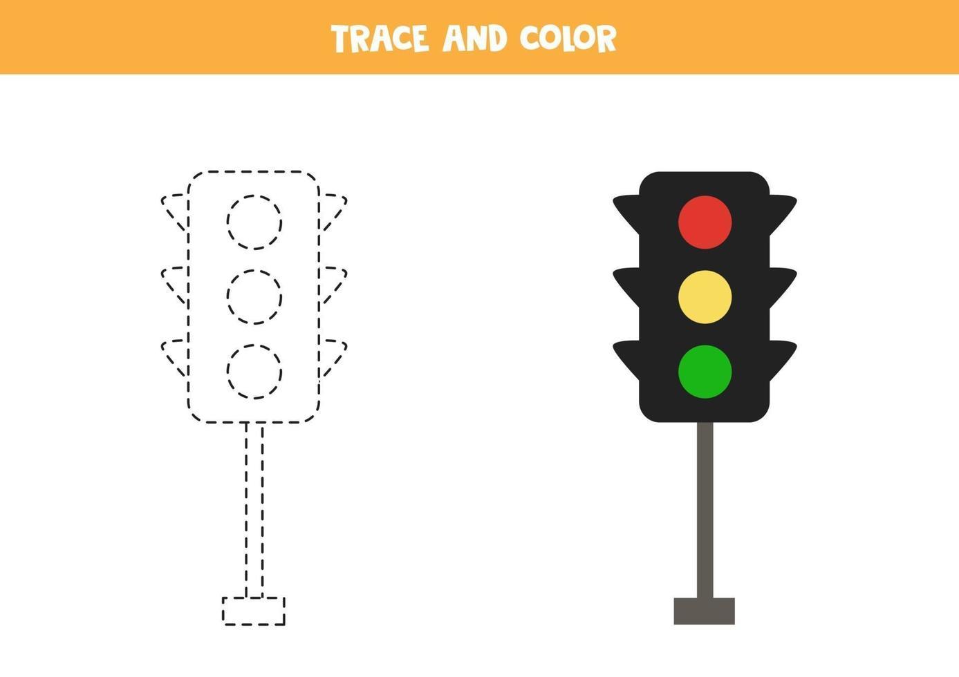 traccia e colora i semafori dei cartoni animati. foglio di lavoro spaziale per bambini. vettore