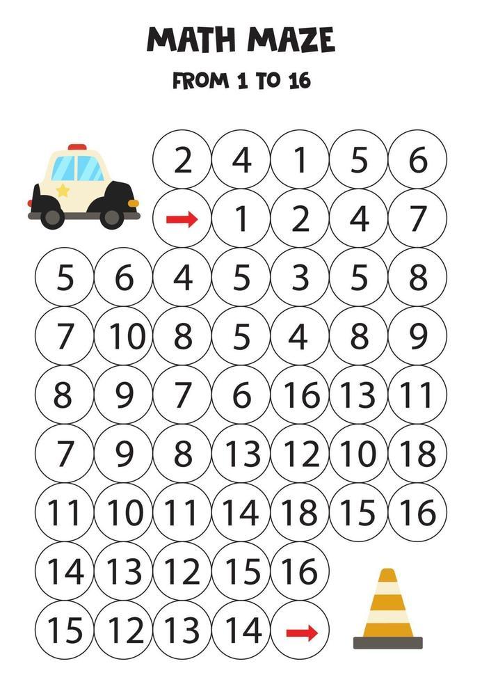 porta la macchina della polizia al cono del traffico contando fino a 16. gioco di matematica per bambini vettore