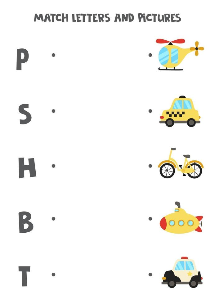 abbinare trasporto e lettere. gioco logico educativo per bambini. foglio di lavoro del vocabolario. vettore