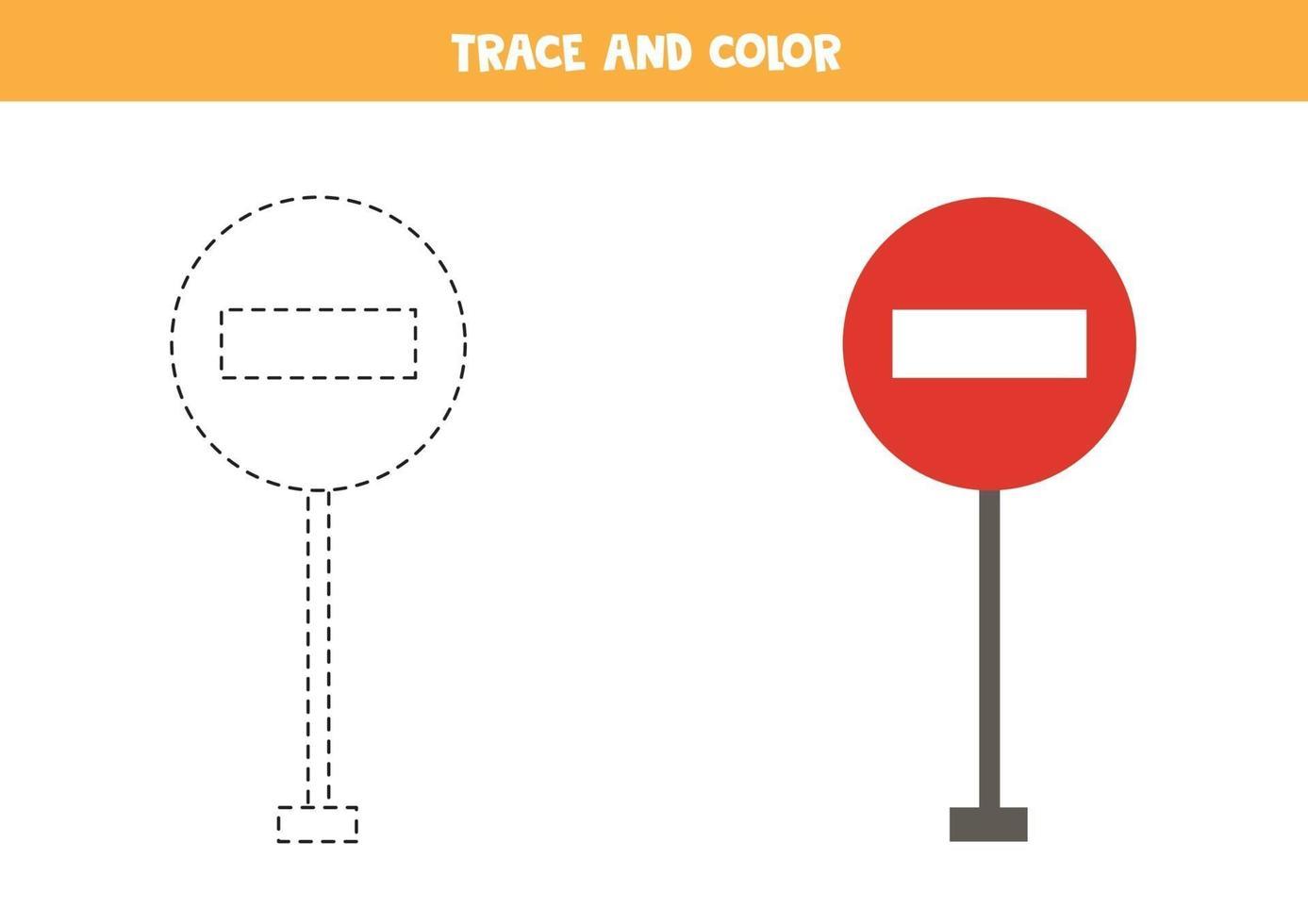 traccia e colore del segnale stradale dei cartoni animati. foglio di lavoro per bambini. vettore