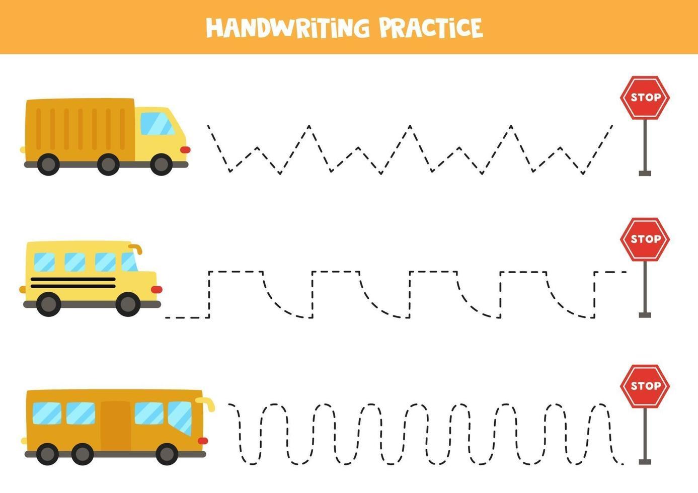 traccia le linee con il trasporto dei cartoni animati. Pratica di scrittura. vettore