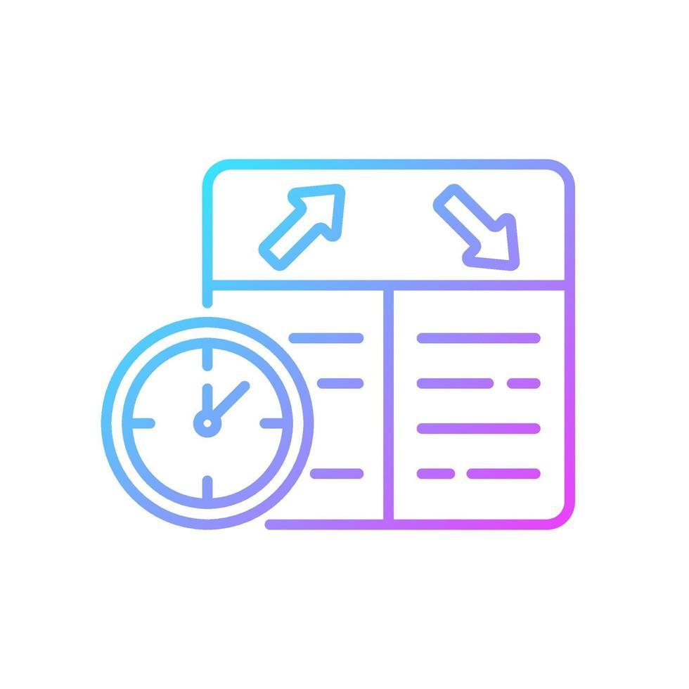 icona di vettore lineare gradiente di pianificazione del volo