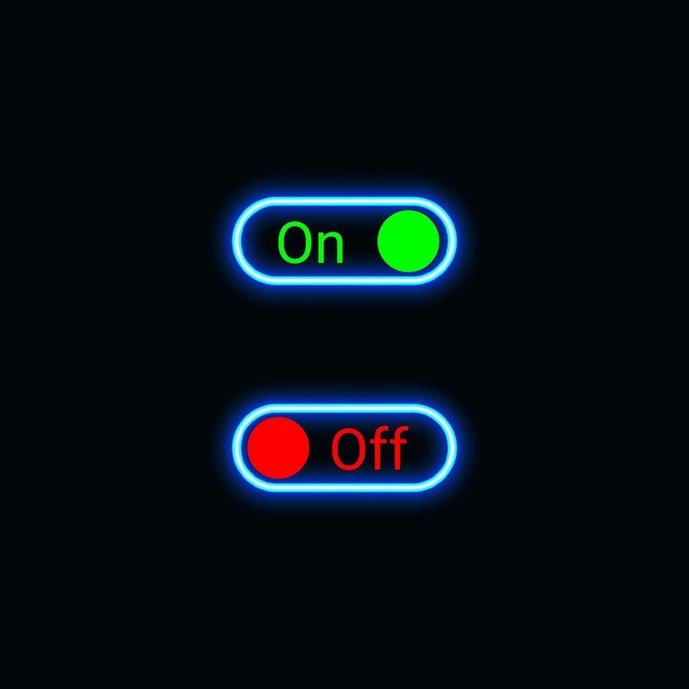 pulsante di accensione per spegnere l'icona al neon per il sito Web, l'applicazione mobile e il materiale dell'interfaccia utente del modello. illustrazione vettoriale