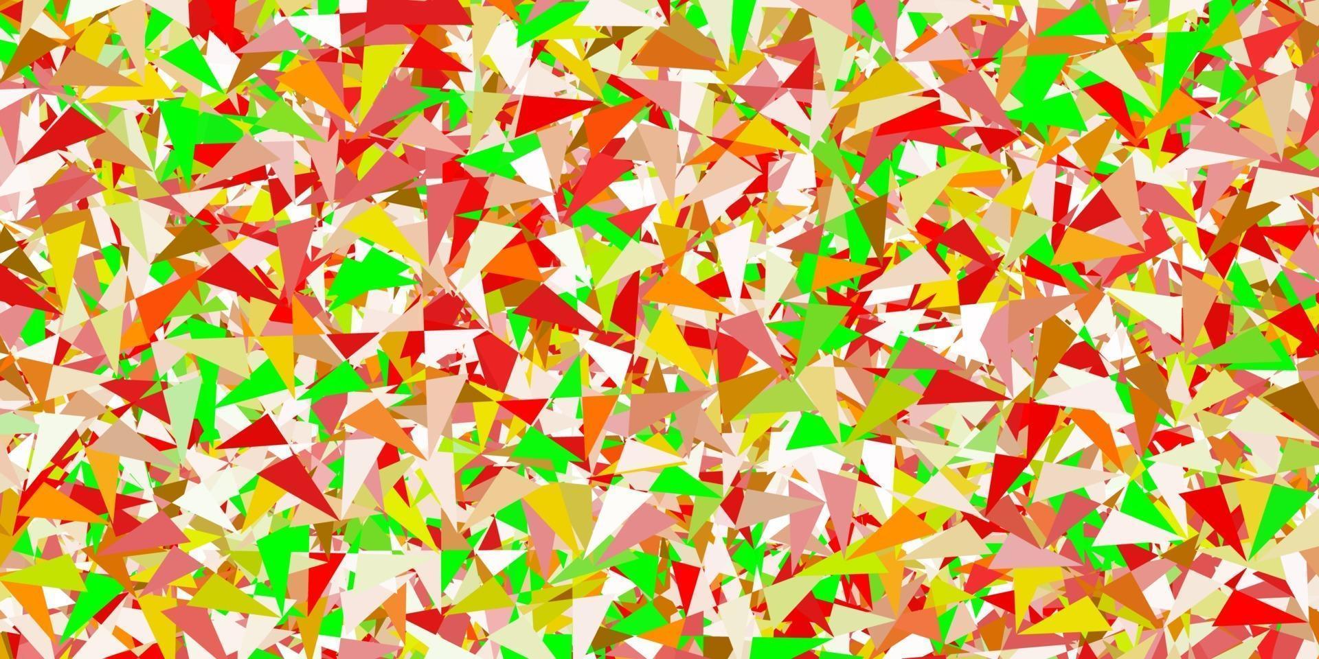 sfondo vettoriale verde chiaro, rosso con triangoli, linee.