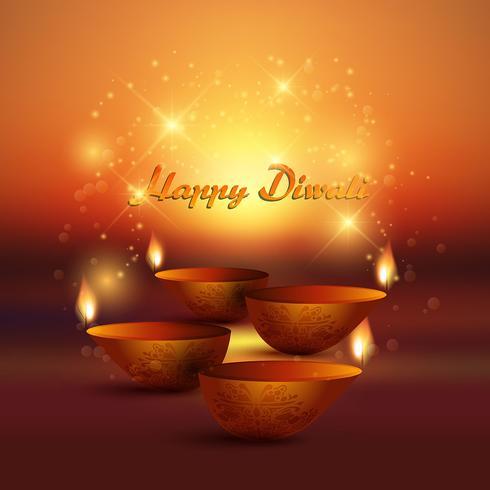 Diwali sfondo con lampada a olio di masterizzazione vettore