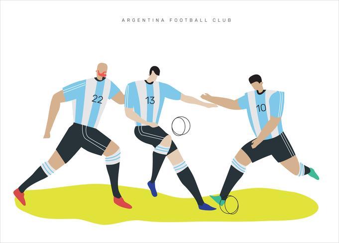 Illustrazione piana di vettore dei personaggi di calcio dell'Argentina