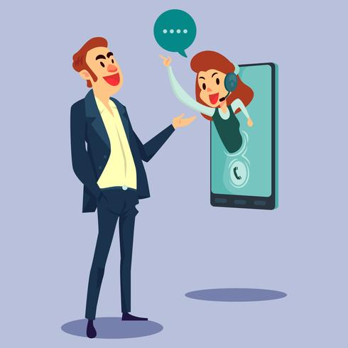 Illustrazione di concetto di servizio clienti online vettore