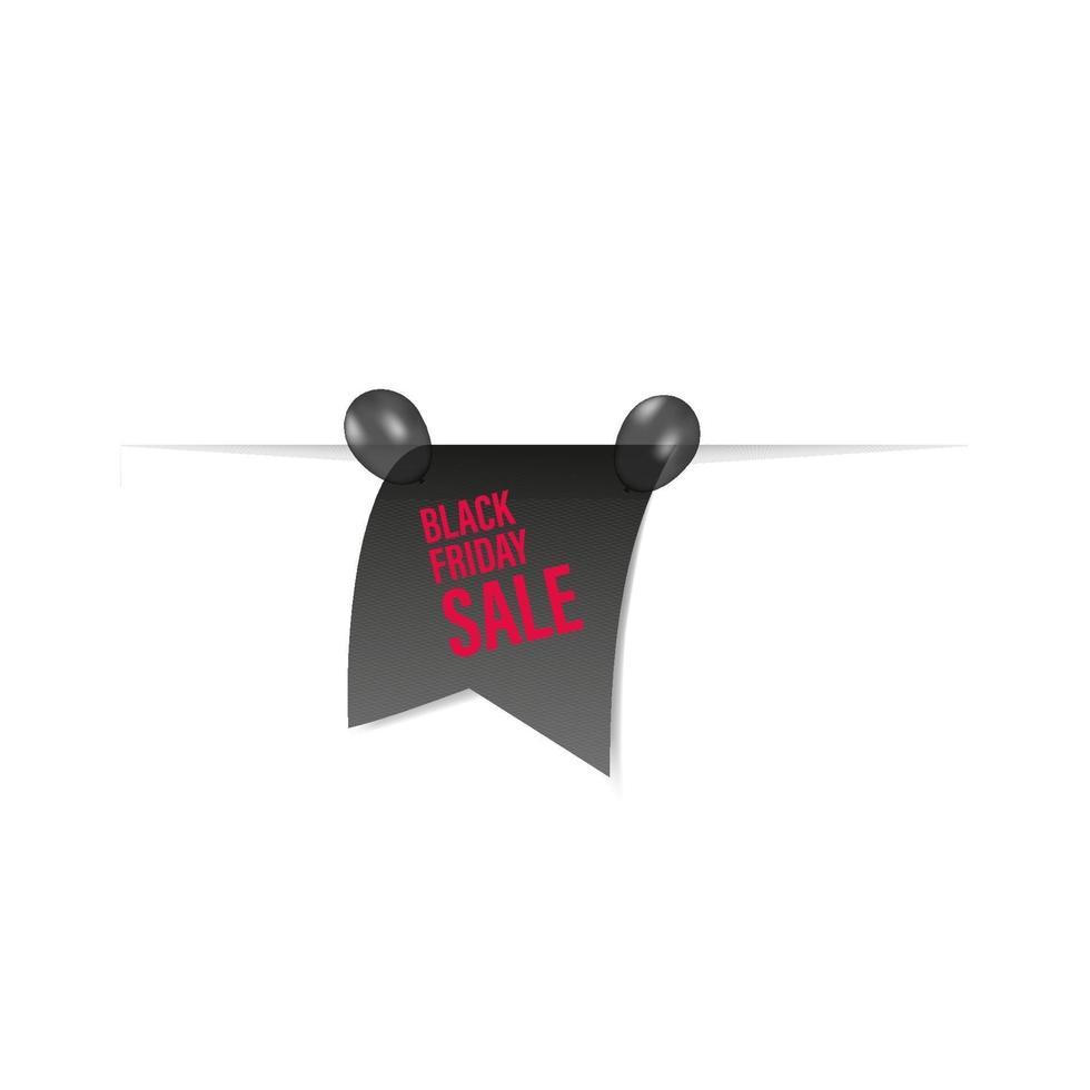 raccolta di banner di nastro e palloncini in vendita venerdì nero isolata. cartellino del prezzo di vettore. vettore