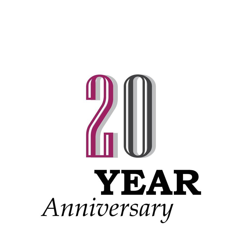 Illustrazione di progettazione del modello di vettore di colore di celebrazione di anniversario di 20 anni