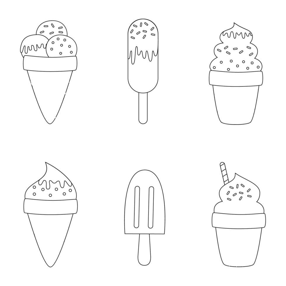 gelati del fumetto di colore. pagina da colorare per bambini. vettore