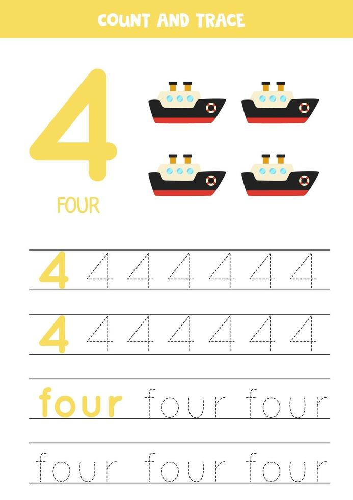 tracciare il foglio di lavoro dei numeri con la nave dei cartoni animati. vettore
