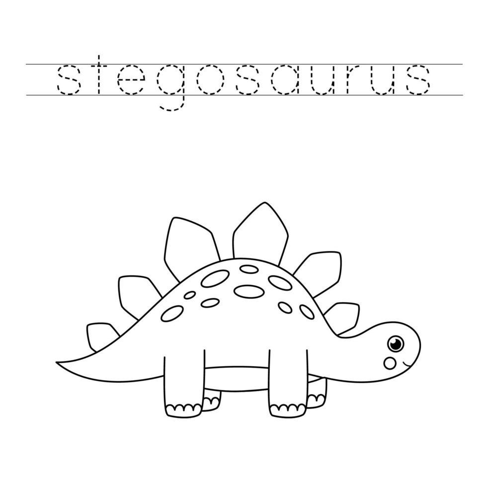 tracciando lettere con simpatici dinosauri. Pratica di scrittura. vettore