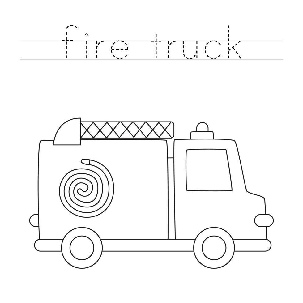 tracciando lettere con camion dei pompieri dei cartoni animati. Pratica di scrittura. vettore