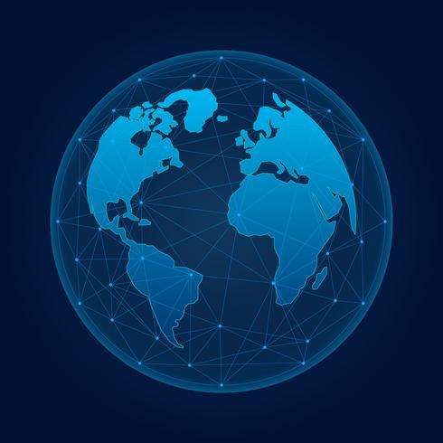 Interfaccia futuristica di globalizzazione Grafica astratta di scienza e tecnologia vettore