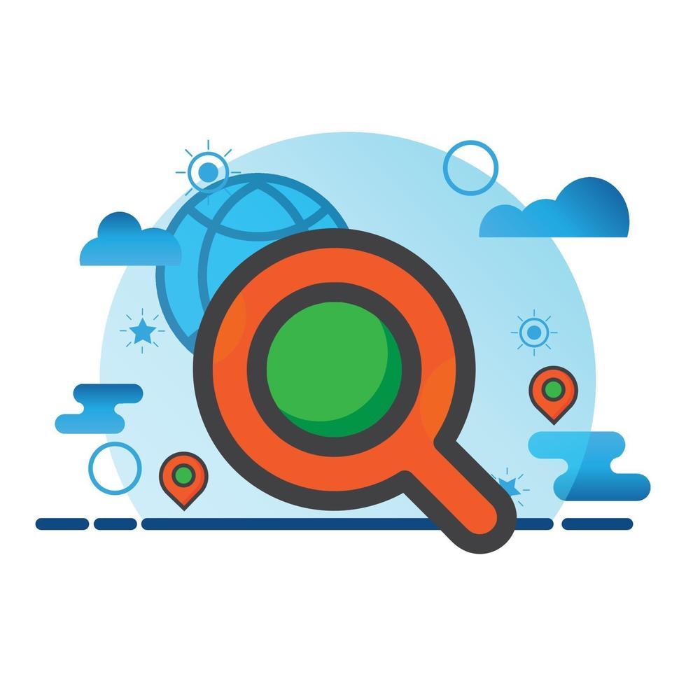 illustrazione di ricerca. icona di vettore piatto. può utilizzare per, elemento di design di icone, interfaccia utente, web, app mobile.