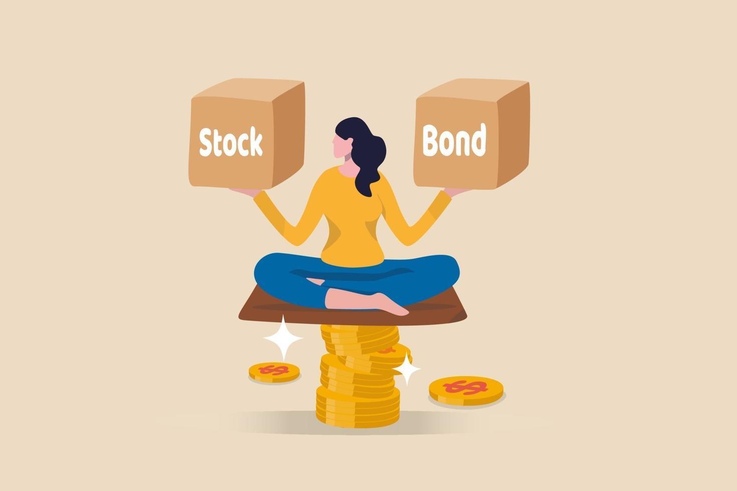 donna su una pila di monete bilanciamento caselle di azioni e obbligazioni vettore
