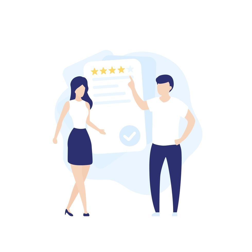 feedback e revisione, illustrazione vettoriale con persone