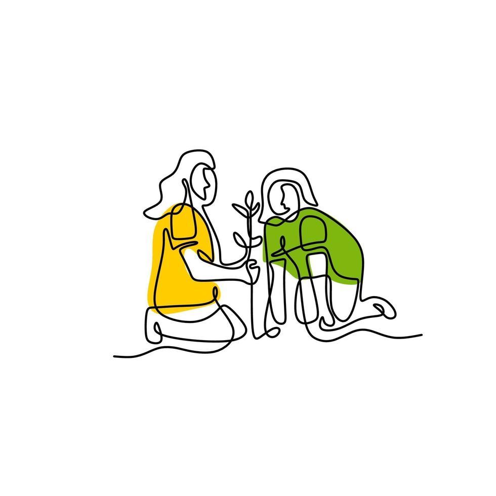 un disegno continuo di una giovane mamma insegna a sua figlia a piantare. la madre e il suo bambino lavorano in giardino per prendersi cura delle loro piante. concetto di apprendimento genitoriale felice. illustrazione vettoriale