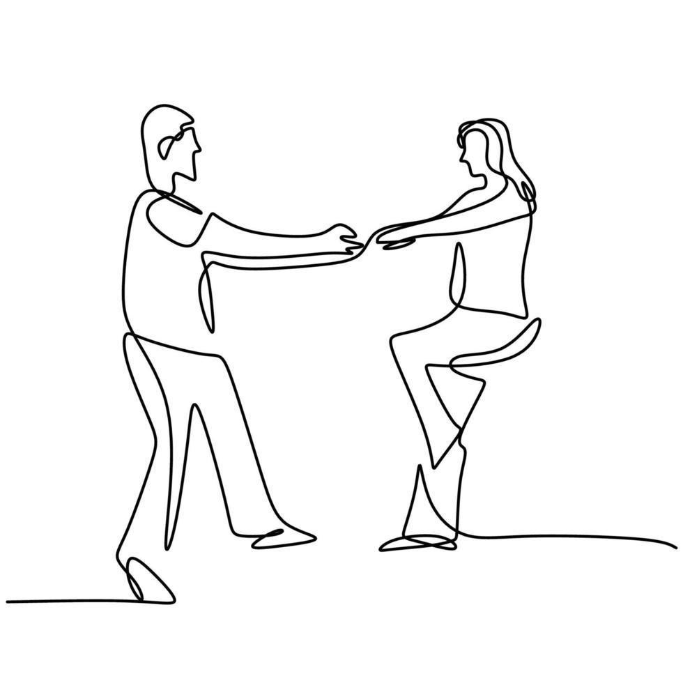 disegno a tratteggio continuo di coppie felici che ballano insieme. giovane uomo e donna in un momento romantico isolato su sfondo bianco. il concetto di amore in amore design minimalista. illustrazione vettoriale