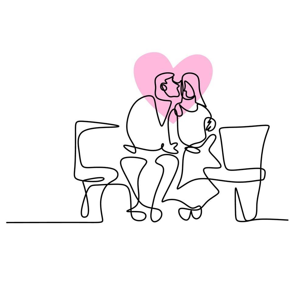 disegno a tratteggio continuo di coppie che si abbracciano. amorevole uomo e donna che si siedono uno di fronte all'altro tenendosi per mano schizzo lineare nero isolato su priorità bassa bianca. appuntamento romantico di successo vettore