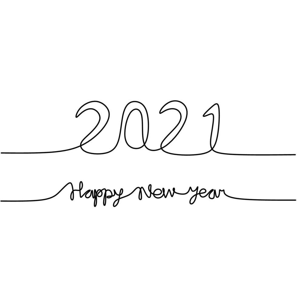 continuo un disegno a tratteggio di un 2021 con felice anno nuovo testo scritto a mano lettering minimalista schizzo di arte linea nera isolato su sfondo bianco. anno del toro. biglietto di auguri o banner design vettore
