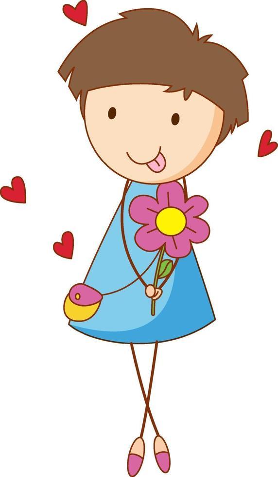 un personaggio dei cartoni animati di ragazza che tiene un fiore in stile doodle isolato vettore