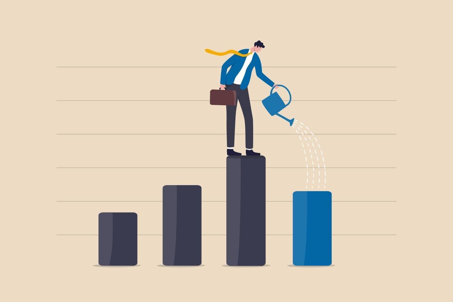 ripresa economica con stimolo monetario, leadership per far crescere il business, crescita degli investimenti o profitto e concetto di guadagno vettore