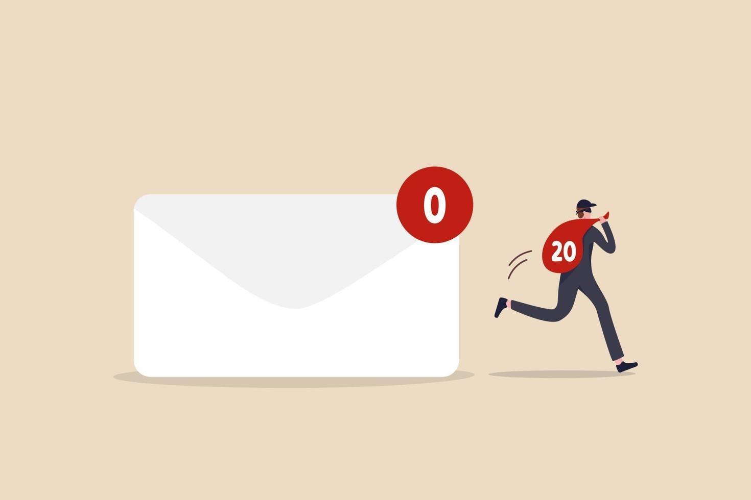 privacy dei dati, e-mail personali riservate, ladri, hacker informatici o provider di posta elettronica mostrano pubblicità basata sul concetto di informazioni privilegiate vettore