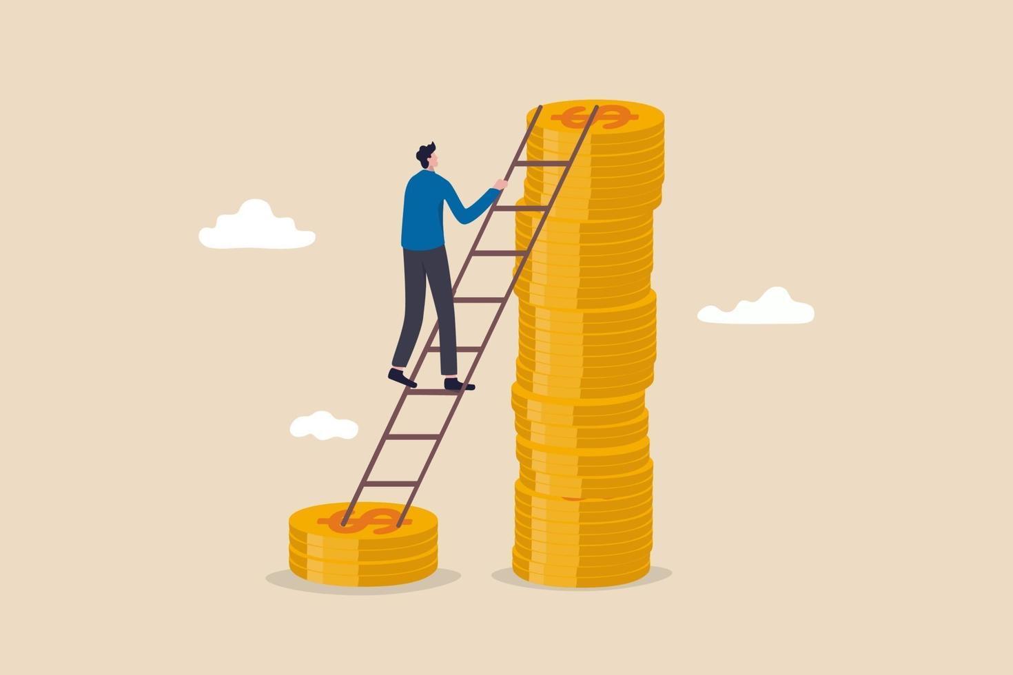 salario, reddito o aumento di stipendio, profitti degli investimenti in aumento, gestione patrimoniale per un concetto di rendimento più elevato, investitore uomo d'affari di successo che sale la scala da una pila di soldi in dollari a quella più alta vettore