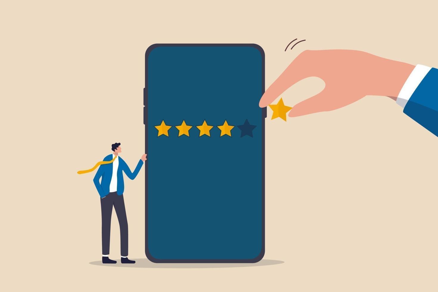 esperienza del cliente o recensione del cliente fornendo una valutazione di 5 stelle, feedback da persone che utilizzano il concetto di servizio o applicazione vettore