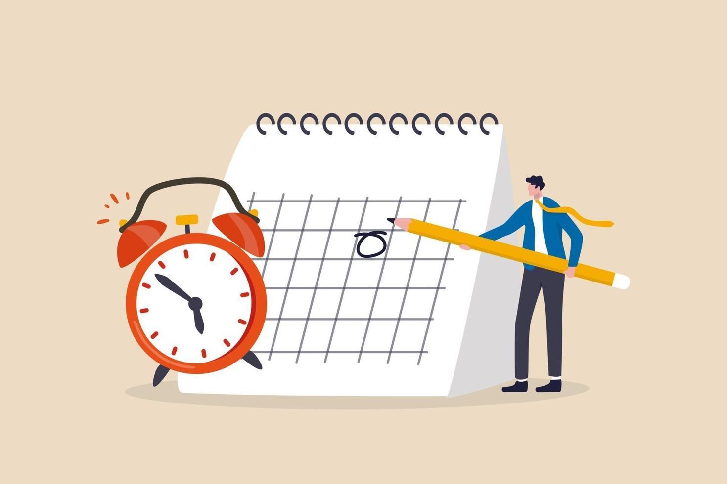 programmare un appuntamento di lavoro, una data importante, un piano del progetto di lavoro o un concetto di promemoria vettore