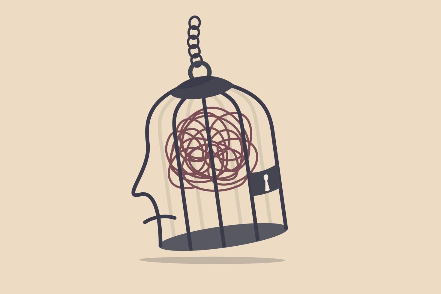salute mentale, stress e ansia da lavoro, depressione o ossessione nel concetto del cervello umano vettore