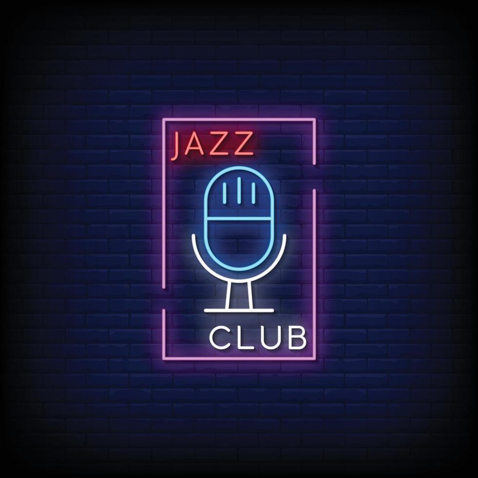 vettore del testo di stile delle insegne al neon del jazz club