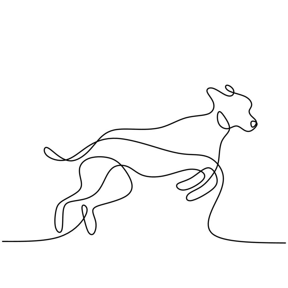Hound Dog una linea continua di disegno su sfondo bianco. cagnolino divertente è in piedi posa. il concetto di fauna selvatica, animali domestici, veterinaria. illustrazione vettoriale di stile minimalismo disegnato a mano. icona animale domestico amichevole
