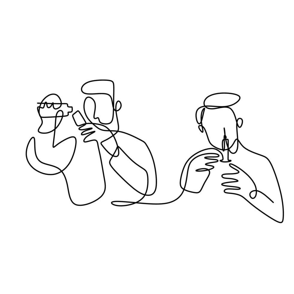due giovani medici un disegno a tratteggio continuo. un medico che tiene l'iniezione e un altro vaccino in bottiglia. ufficiale medico professionista. concetto di assistenza sanitaria. illustrazione di stile minimalismo vettoriale