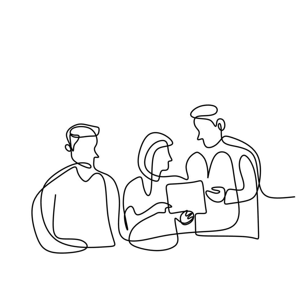 disegno continuo di una linea dei medici del team. tre medici professionisti che discutono del paziente diagnostico. concetto di lavoro di squadra medico sanitario. illustrazione vettoriale isolato su sfondo bianco